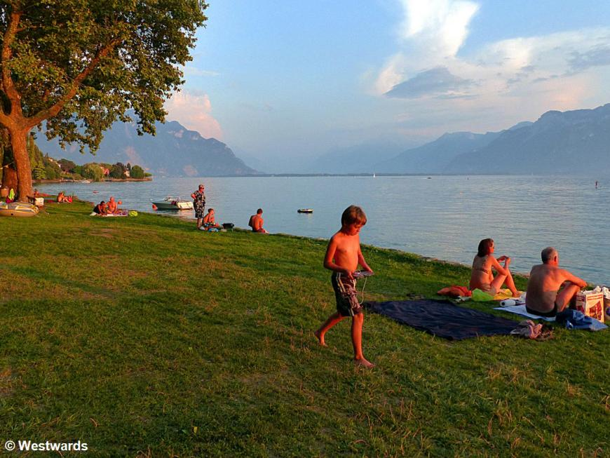 A campsite at Lac Leman makes Switzerland affordable ...