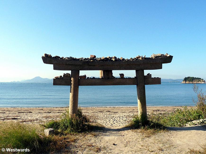 Half-buried torii on Naoshima Art Island
