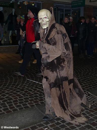 masked man in a Krampus rally in Lienz
