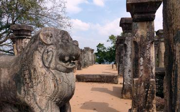 Columns and a lion statue