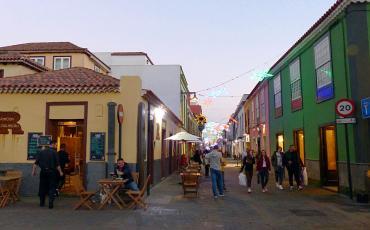 Streetscene with colourful houses in San Cristobal de la Laguna