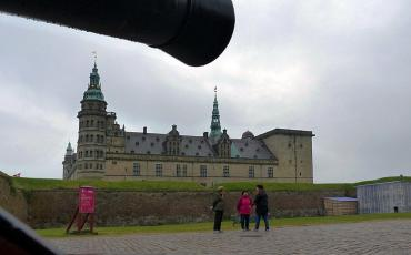View on Helsingor Castle with conon pointing into the picture