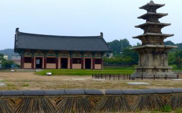 Reconstructed Baekje structure with stupa