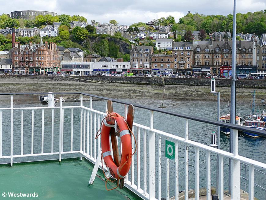 View from the ferry onto the skyline of Oban