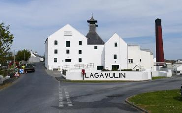 Font view of the Lagavulin distillery on Islay