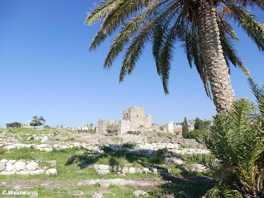 Ruin of the crusader castle at the archeological site of Byblos