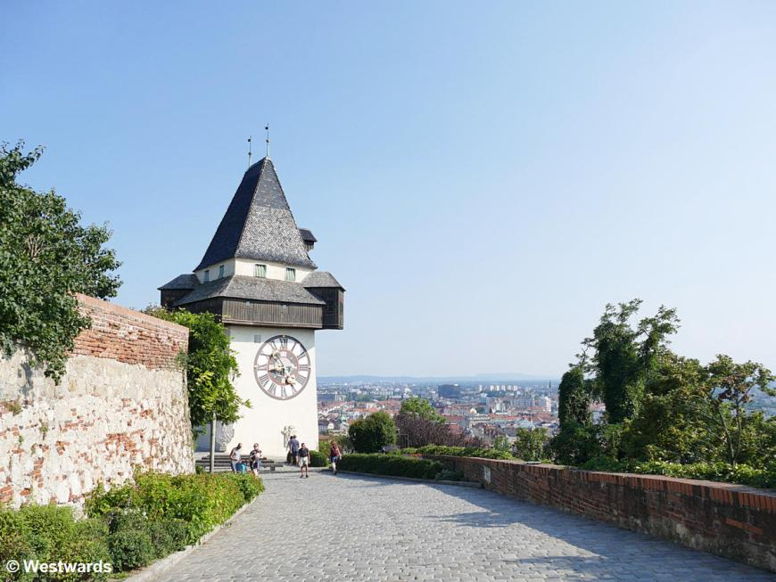 View from the hill overlooking Graz with clocktower