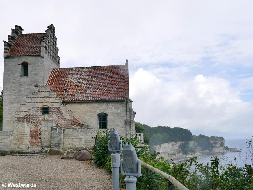 The church of Højerup half fallen off the cliff