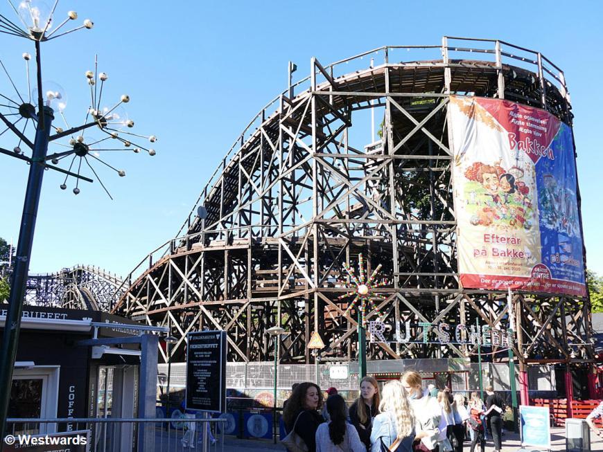 Rollercoaster at the amusement park Bakken