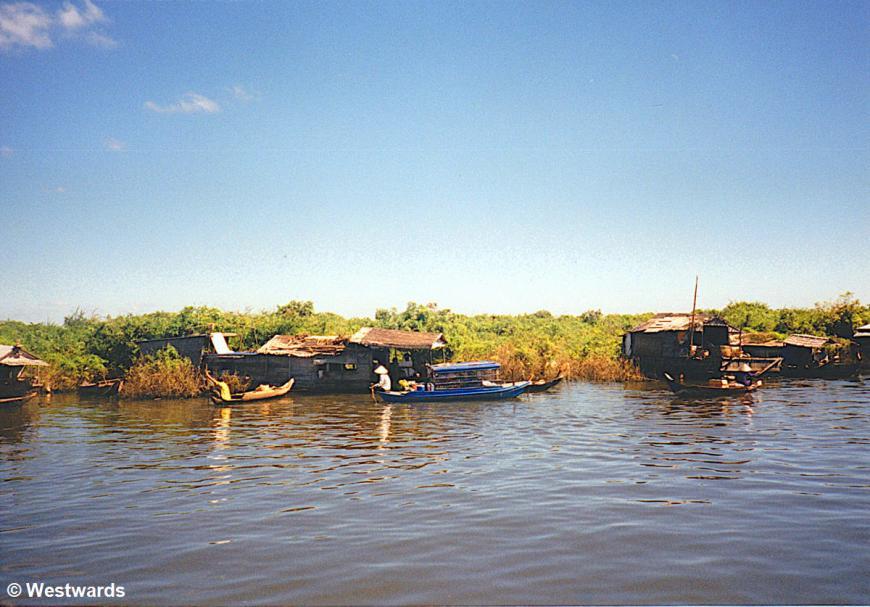 Boats on Lake Tonle Sap, Cambodia, in 2001