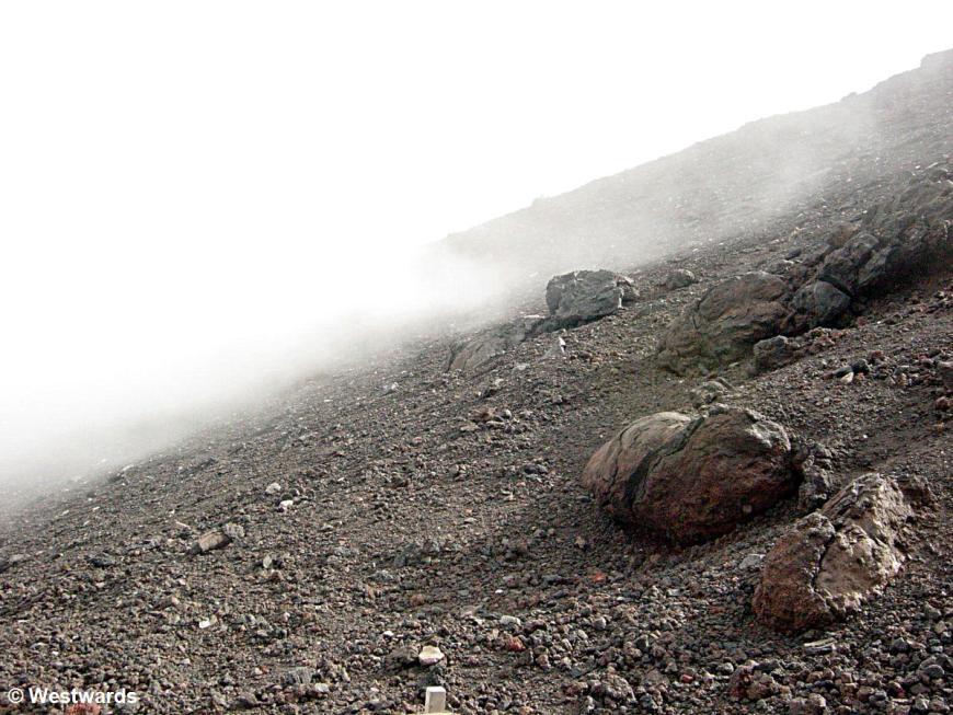 Climging Fuji-san in fog