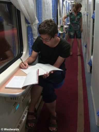 Natascha in the sleeper train between Guilin and Xian