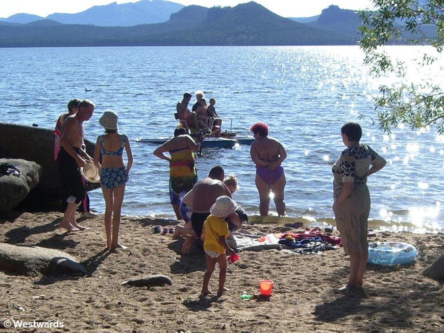 European-looking bathers on Lake Burabai
