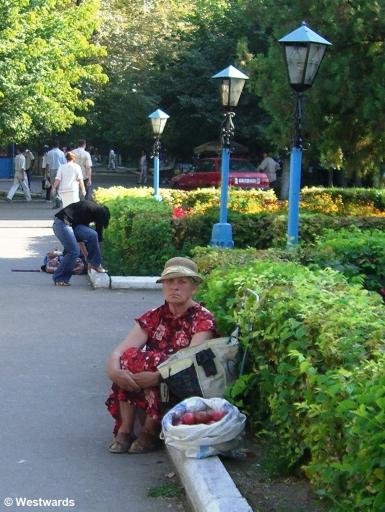 A fruit vendor in Taraz, Kazakhstan - we had not thought she would speak German