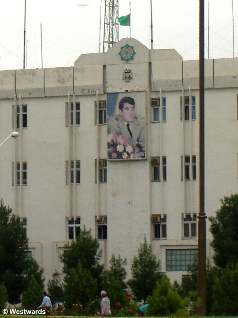 image of Turkmenbashi on a building