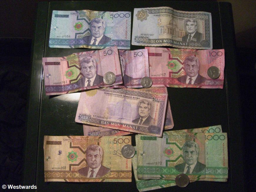 Turkmenistan money with image of Turkmenbashi