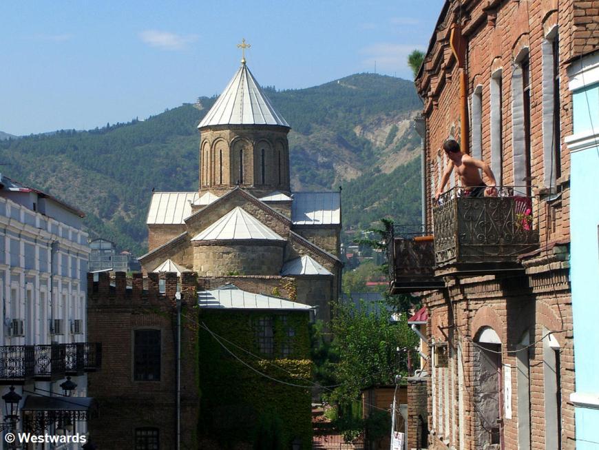Street view with Metekhi Church in Tiflis