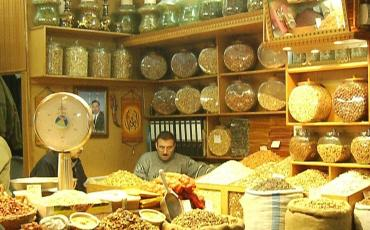 Nuts and spices shop in Aleppo's Souq