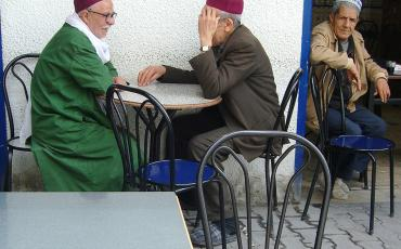 Old Tunisian men sitting in a cafe