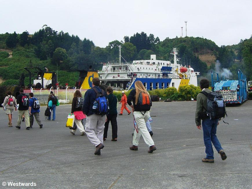 passengers boarding the Navimag Ferry in Puerto Montt