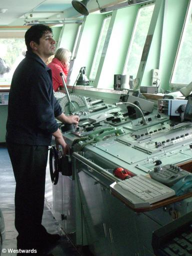 On the bridge of the Navimag Ferry