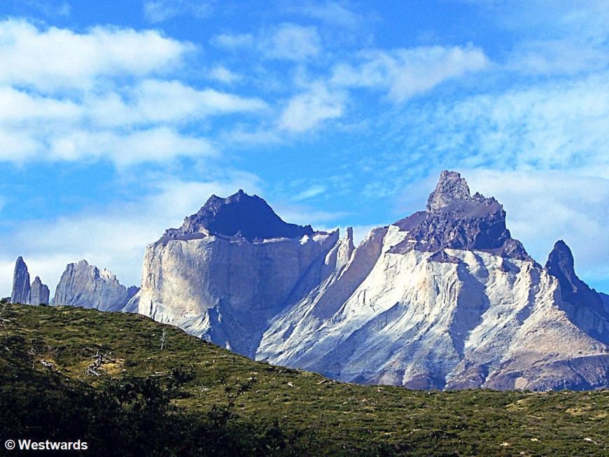 Los Cuernos view from Paine Grande, trekking on Torres del Paine circuit