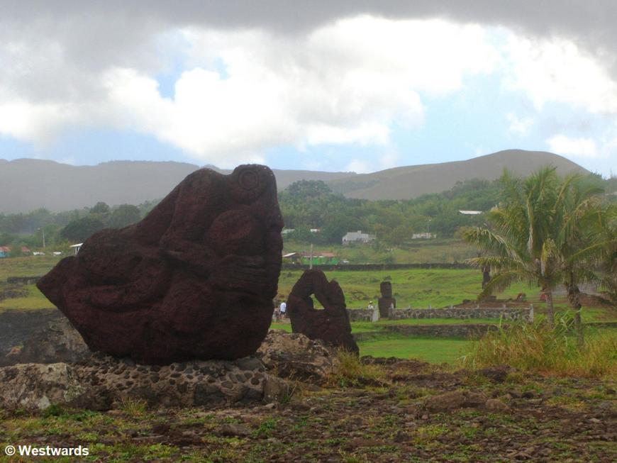 Orongo birdman cult sculpture in Hanga Roa, Easter Island