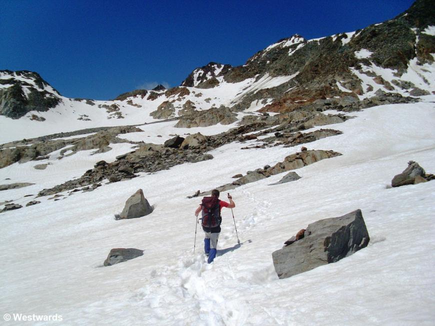 Isa hiking towards Tisenjoch, Tyrol
