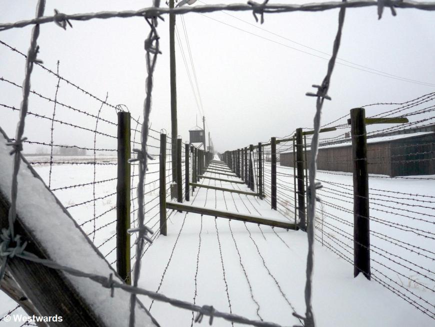 Frozen fences around Majdanek concentration camp