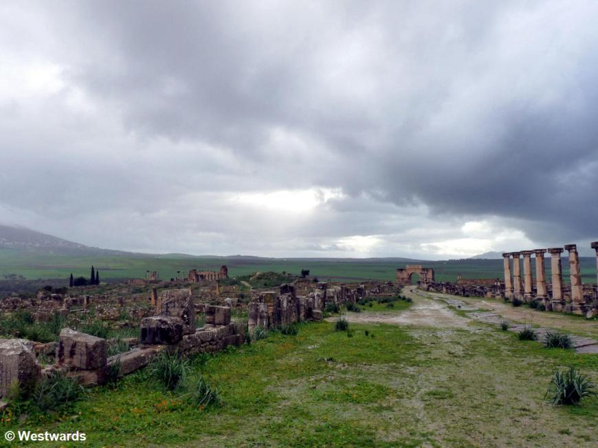 rain over a Morocco UNESCO site, Volubilis