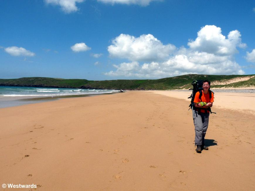 Natascha on a beach on the Pembrokeshire coastal path