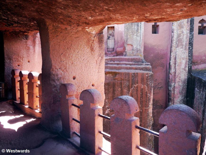 Inside the courtyard of Beta Qedus Gabreel Rufael church