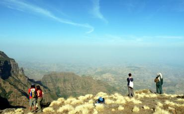Natascha at a viewpoint during our trekking in the Simien Mountains
