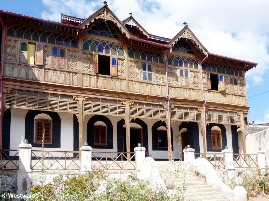 Rimbauds house in Harar: a wooden house with coloured windows