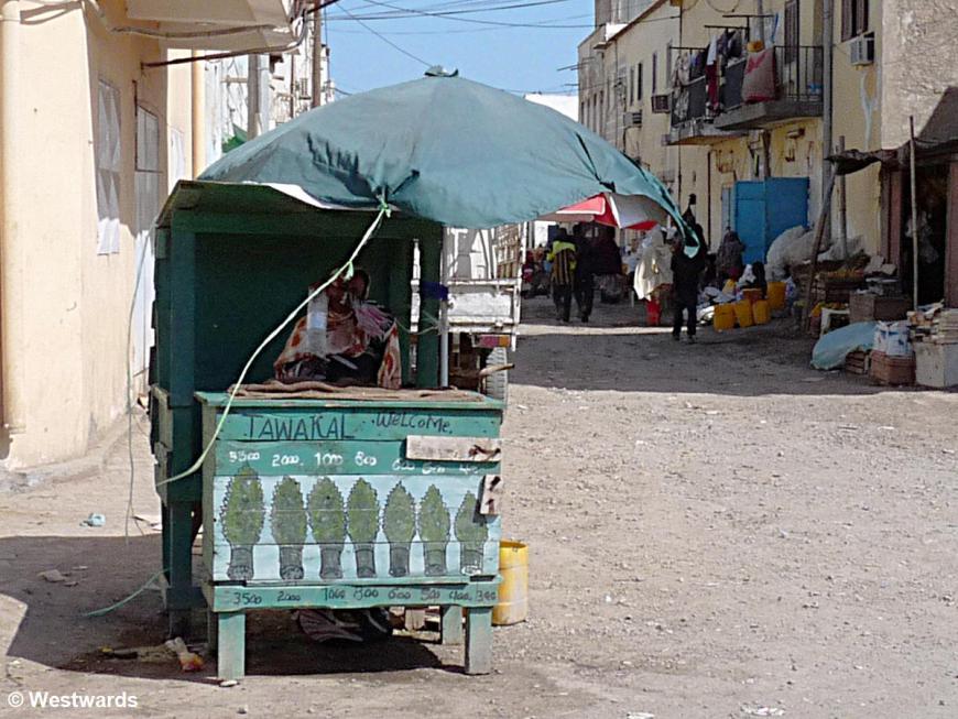 Khat vending stall in Djibouti city