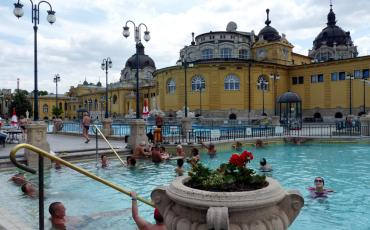 Swimmers at the open air pool at Szechenyi Bath