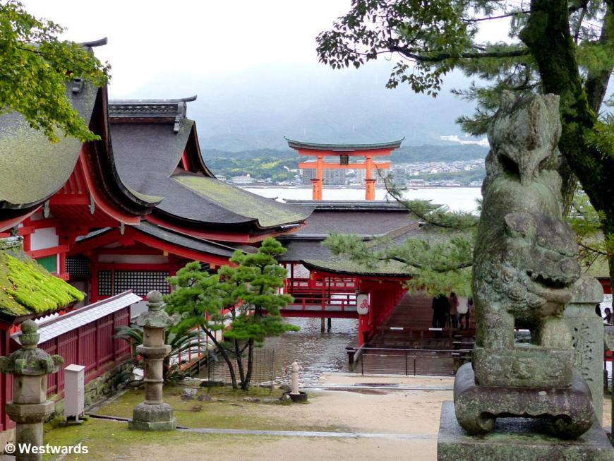 Bright red shrine buildings of Itsukushima Jinja