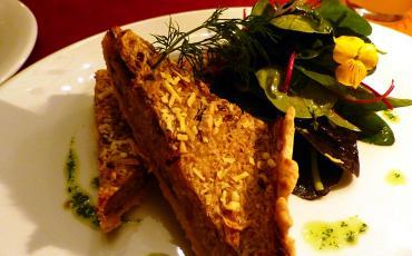 vegan Sauerkraut Quiche with salad at Vaust