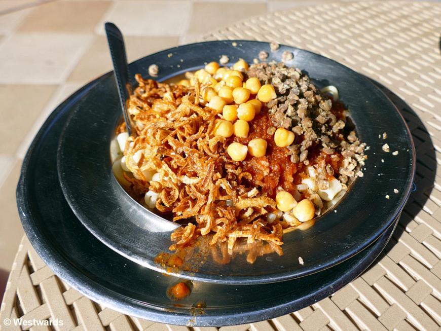 plate of Kushari in Alexandria