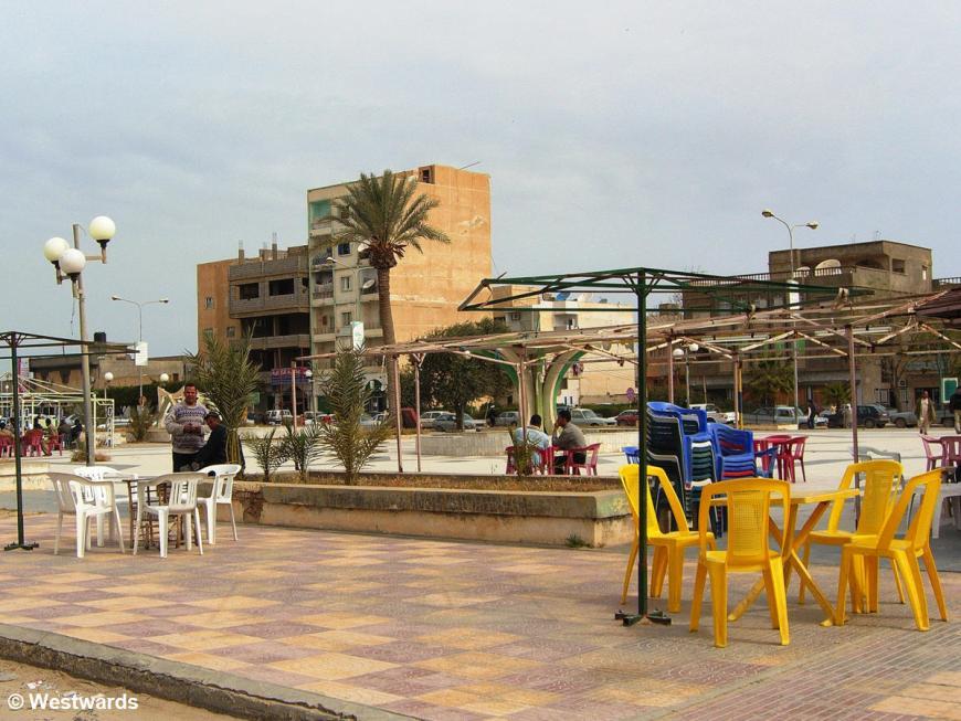 empty outdoor restaurant in Al-Khoms