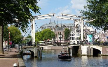 Draw bridge on an Amsterdam town canal