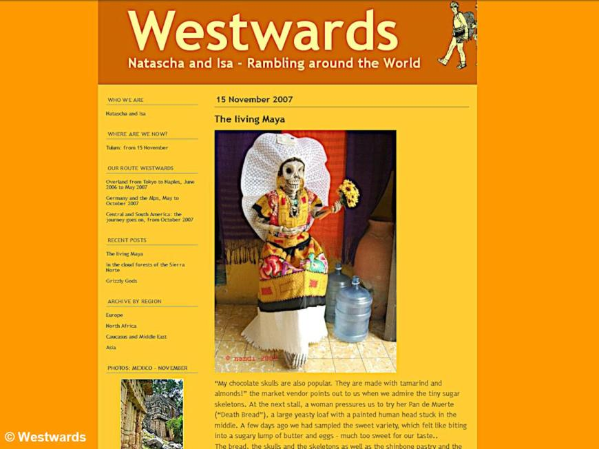 Our Typepad blog Westwards from Japan in 2007