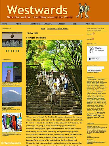 The very first Westwards travel blog post shortly before the move to WordPress