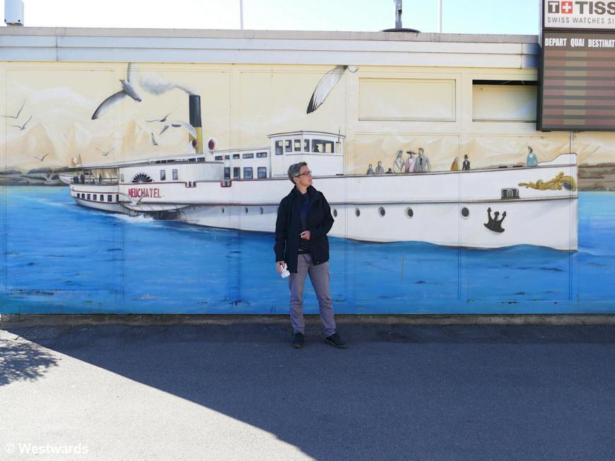 Isa with a steamer mural, on our Neuchatel Belle Epoque walk