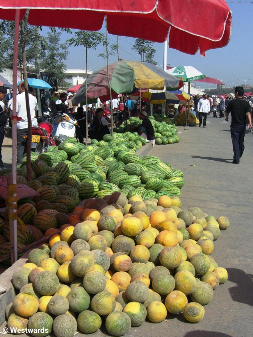 Piles of melon in Xinjiang