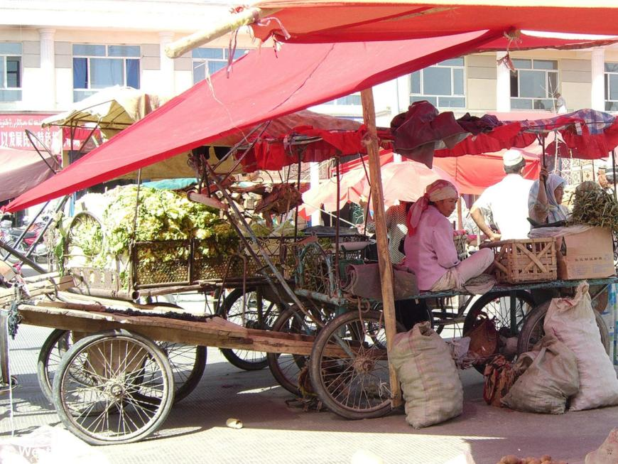 Vegetable seller in the Hotan Sunday Market