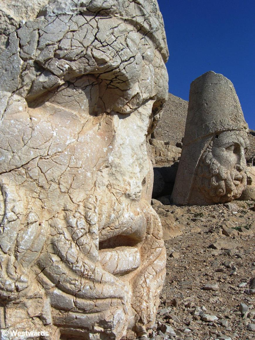 Stone heads of greek gods, during our visit to Mt Nemrut