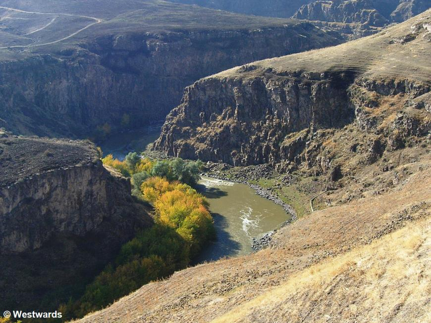 The gorge of the Akhuryan/Arpacai River seen from a visit to Ani