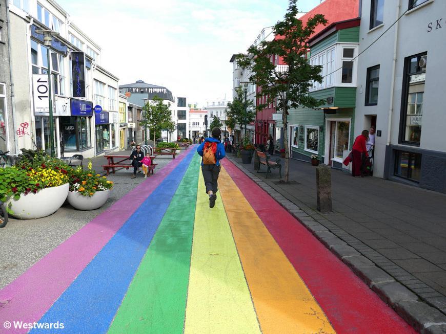 Rainbow road in Reykjavik, not only during Gay Pride