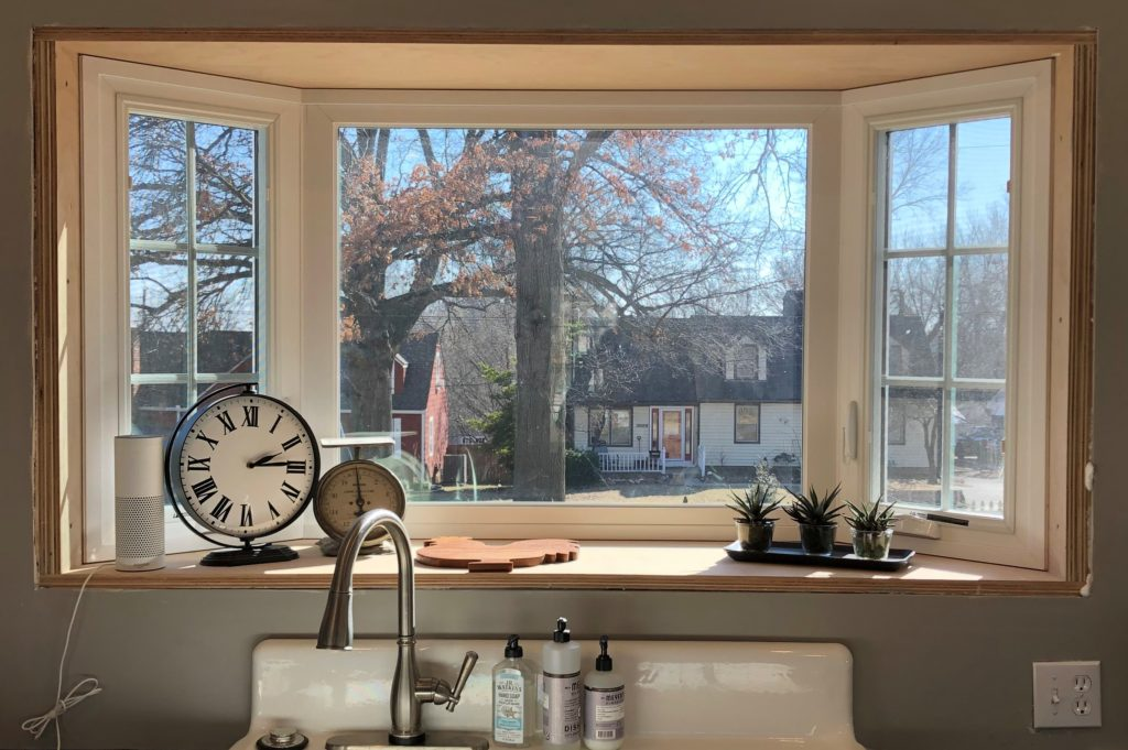 install a bay window over kitchen sink